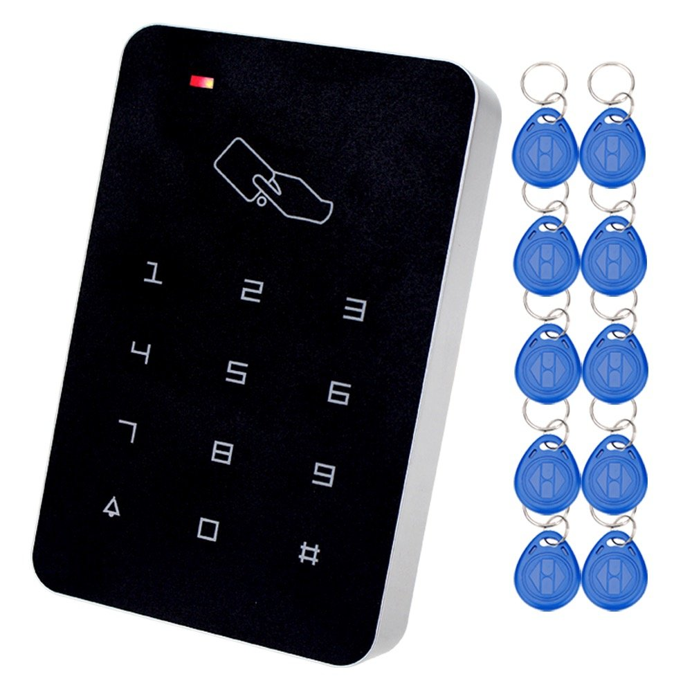 LIBO 125KHz RFID Keypad Access Control System Digital Keyboard, Single Door Use, Support 1000 Users, Including 10pcs TK4100 EM ID Keyfobs
