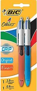BIC 4 Colours Grip Original Ball Pen Medium Point (1.0 mm) and BIC 4 Colours Grip Ball Pen Fine Point (0.8 mm) - Assorted Colours, Pack of 2 Pens