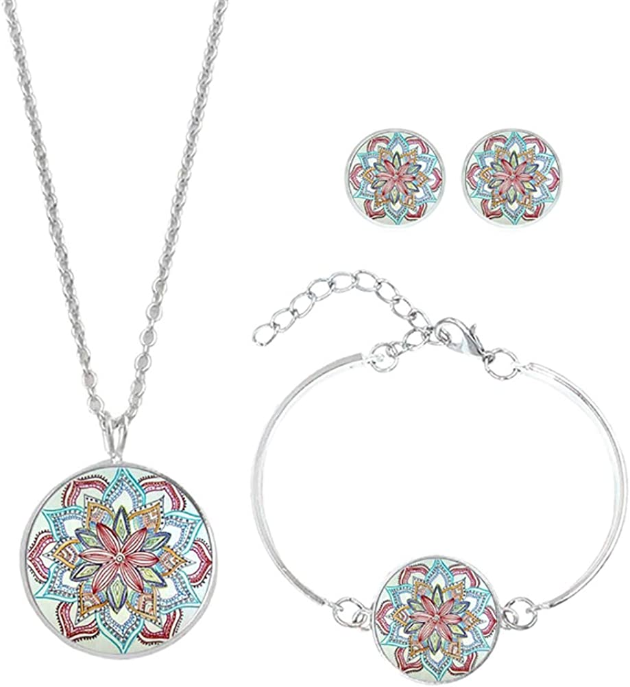 Leisial Conjunto de Joyas - Arete + Pulsera + Collar Estilo Bohemio Decorativos Joyería Accesorios de Fiesta para Mujeres Niñas