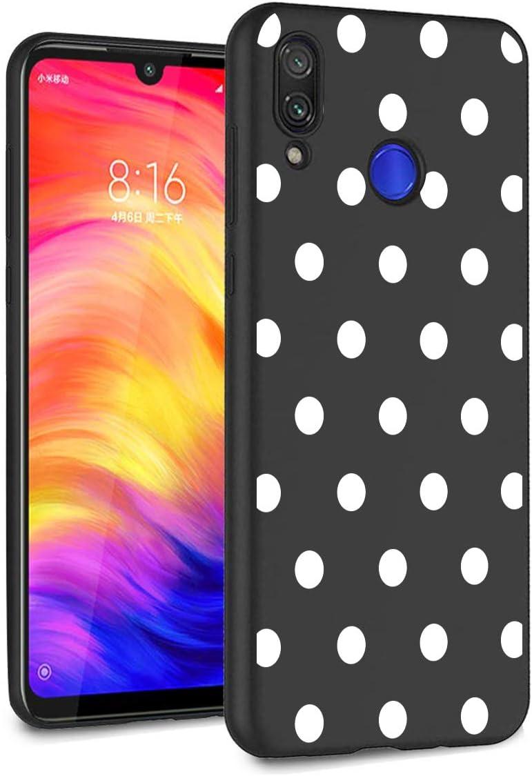 ZhuoFan Funda Xiaomi Redmi Note 7 Cárcasa Silicona Ultrafina Negra con Dibujos Diseño Suave TPU Gel Antigolpes de Protector Piel Case Cover Bumper Fundas para Movil Xiao Mi Redmi Note7, Lunares Blanc