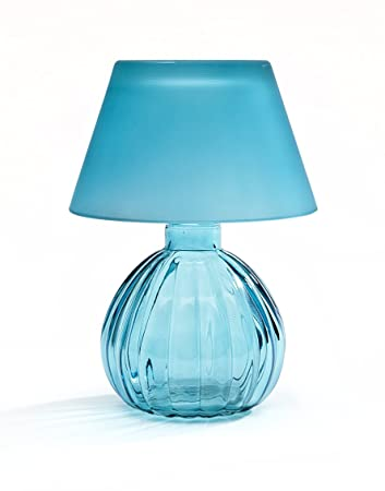 Superb Studio Home Turquoise Glass Votive Lamp With Shade