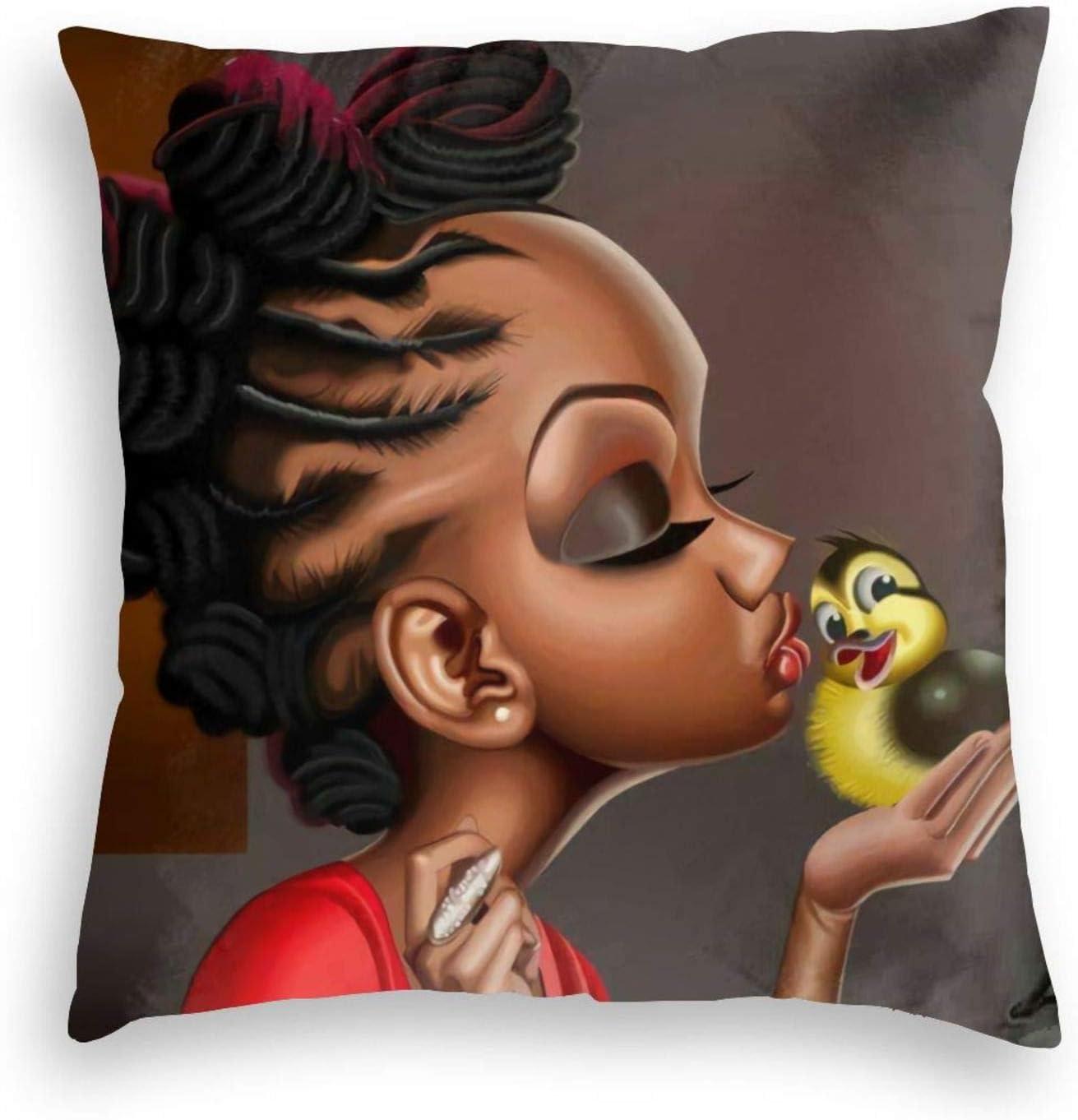 Throw Pillow Cover African Black Girl Magic Pattern Home Decorative Velvet Square Pillow Case for Men Women Boy Gilrs Bedroom Livingroom Cushion Cover 18x18 Inch Pillowcase