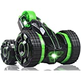 RC Remote Control Super Stunt Buggy with Lights - Fun High Speed Transforming Remote Controlled Stunt Car Toy - 360 Rotation, Flips, Run on 2, 3, 4 or 5 Wheels – Indoors / Outdoors – RTR (Green)