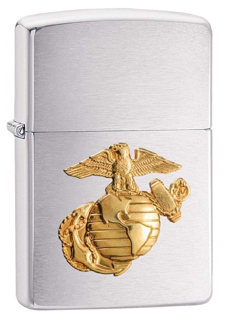 Zippo US Marines Emblem Pocket Lighter, Brushed Chrome by Zippo