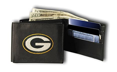 44f3c446d Image Unavailable. Image not available for. Color  Rico Green Bay Packers Embroidered  Leather Tri-Fold Wallet