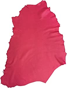 Pink Leather Hide – Genuine Lambskin Material - Quality Full Skin - 5 sq ft - 1 oz. avg Thickness – Fuchsia Textured Finish – Upholstery Home Décor Fabric – Craft DIY Supply