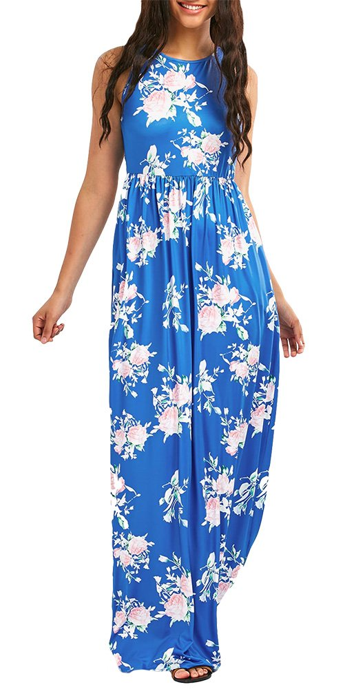 Women's Floral Print Racerback Sleeveless Pocket Long Maxi