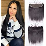 Maxine Lace Frontal Closure Straight Wave 13x4 Ear to Ear Frontal with Baby Hair Bleached Knots Unprocessed Brazilian Virgin Human Hair 130% Density Full Top Lace Frontal Natural Color 10 Inch