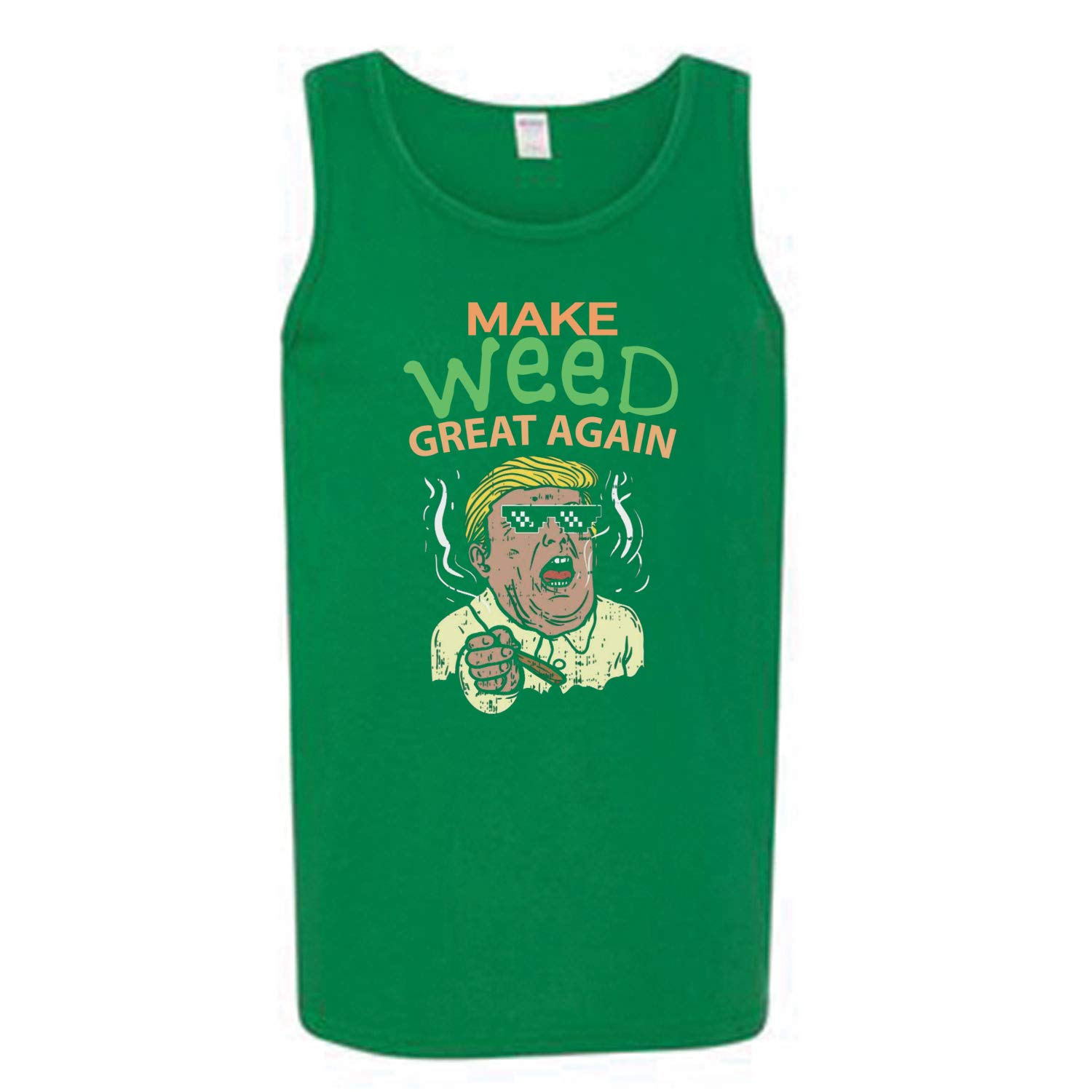 Donkey Threads Make Weed Great Again Weed 4//20 Mens Graphic Tank Top
