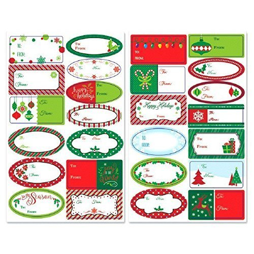 Amscan Very Merry Christmas Holiday Borders Adhesive Gift Label Party Favors, Multicolor (2-Pack) -