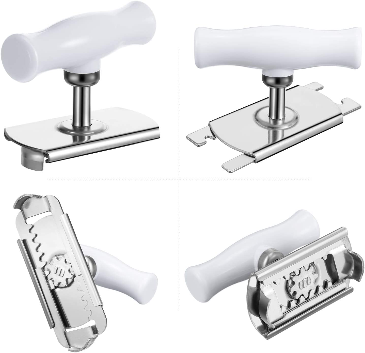 Adjustable Jar Opener Stainless Steel Lids Off Jar Opener and 2 Pieces Car Key Chain Bottle Opener for Quick Opening Tool