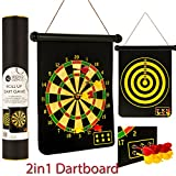 FiNeWaY NEW 2 IN 1 MAGNETIC DARTBOARD ROLL UP 6 MAGNET DARTS GAME DART BOARD DOUBLE SIDED FUN