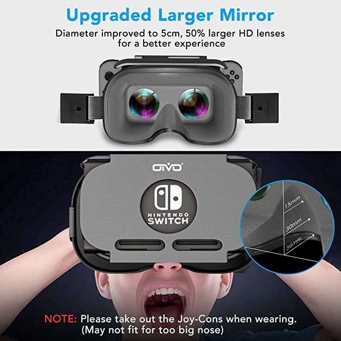 OIVO Gafas VR de Realidad Virtual para Nintendo Switch, 3D VR Glasses Visión Panorámico, VR Googles para Nintendo Switch: Amazon.es: Electrónica