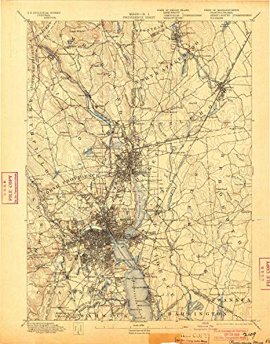 YellowMaps Providence RI topo map, 1:62500 Scale, 15 X 15 Minute, Historical, 1894, Updated 1903, 20.1 x 15.8 in - Tyvek ()