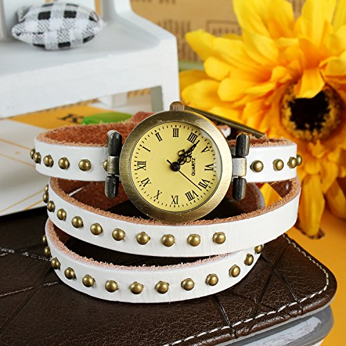 Fashionable Luxury Stylish Coil Watch Hand Chain W/ Rivet Weave Wrap Leather Belt For Women, Ladies, Girls. Retro Design, 24' Long, Genuine Leather, & Alloy Material - White