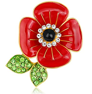 f9a6773a078 FENGJI Poppy Flower Brooches Red Remembrance Poppies Pin Rhinestone Brooch  Badge Gift AL133