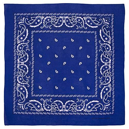Large 100% Cotton Paisley Bandanas (22 inch x 22 inch) - Royal Blue Single Piece 22x22 - Use For Handkerchief, Headband, Cowboy Party, Wristband, Head Scarf - Double Sided Print