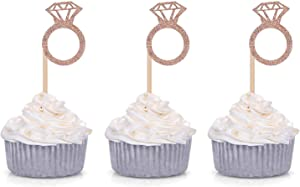 36 Counts Glitter Diamond Ring Cupcake Toppers for Wedding Bridal Shower Engagement Party Decorations Picks - Rose Gold
