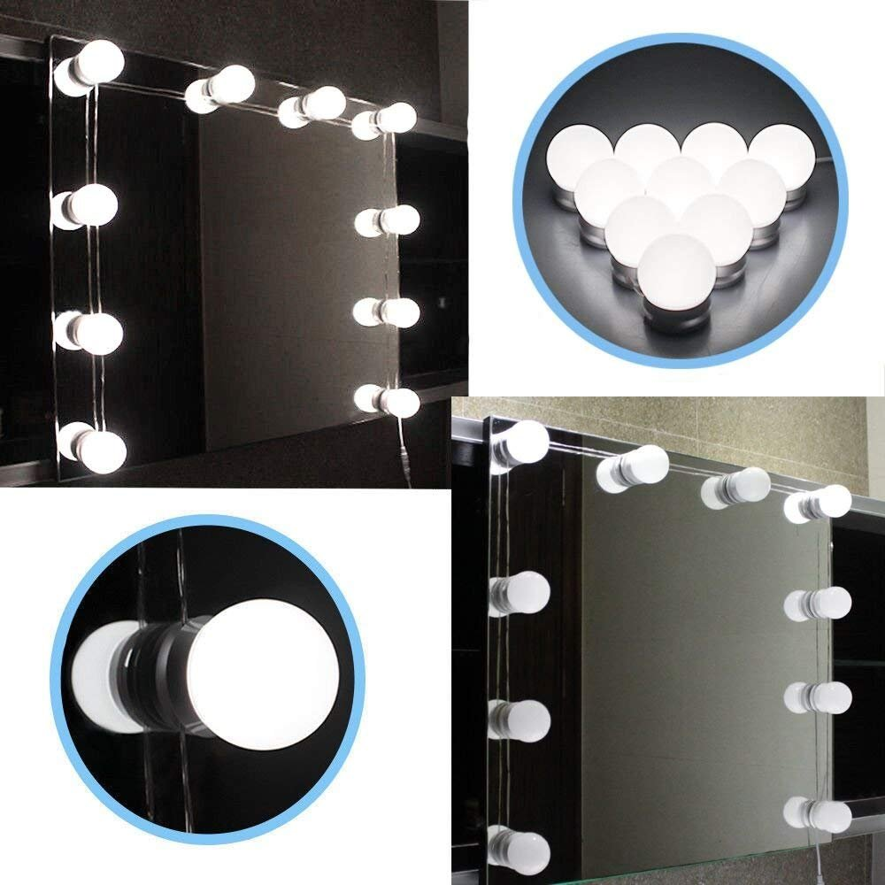LED Vanity Mirror Light -Rbaysale Makeup Mirror Light Kit- Hollywood Style LED Vanity Mirror Bulbs - Lighting Fixture Strip for Makeup Dressing Table with Dimmer and Power Supply, Mirror not Included