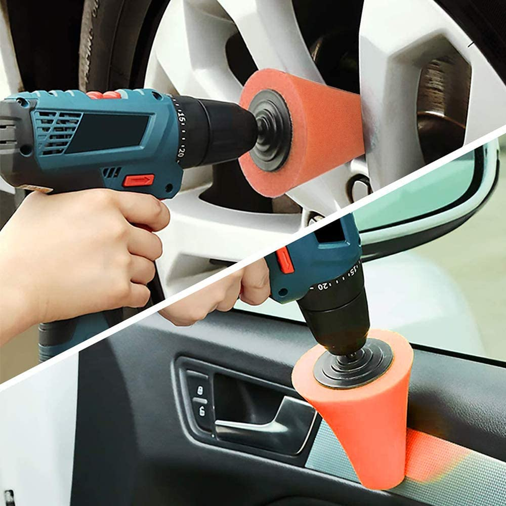 Car Polishing Kit Car Polish Cone Set Sponge Pads Polishing Wheel Polisher Buffer Waxing Tool Kit Wheel Hub Cleaning Tool Orange