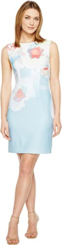 Tahari by ASL Womens Pique Abstract Floral Sheath