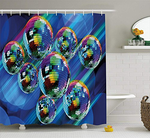 summer-M 70s Party Decorations Shower Curtain, Colorful Funky Vibrant Disco Balls Abstract Night Club Dancing Theme, Fabric Bathroom Decor Set with Hooks, 60x72 Inches, Multicolor -