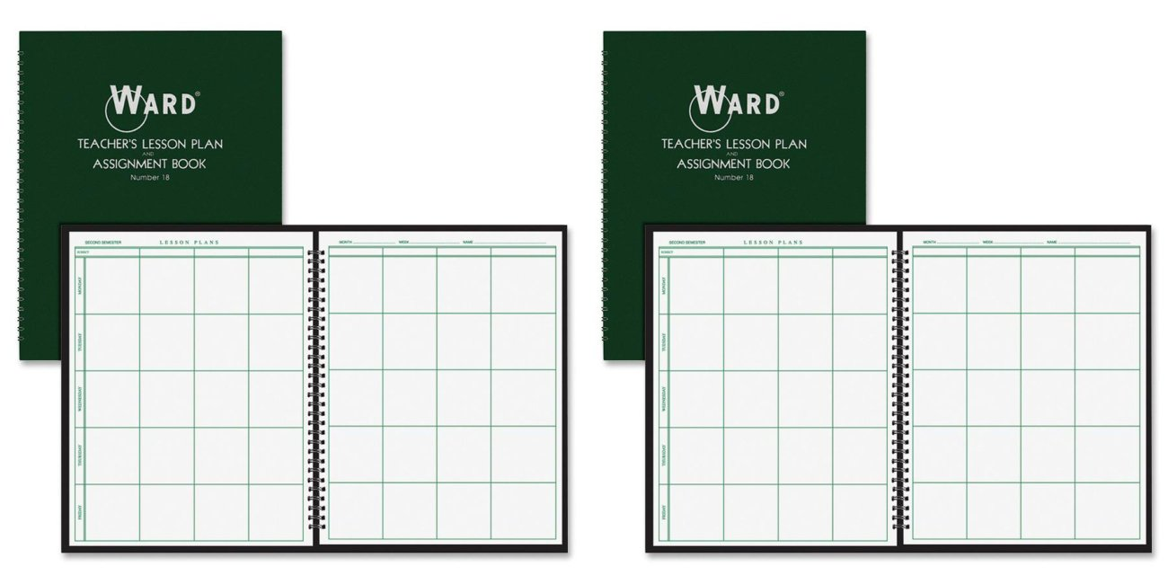 Amazon.com : Ward 18 Lesson Plan Book, Wirebound, 8 Class Periods/Day, 11 X  8 1/2, 100 Pages, Green (HUB18) : Teachers Calendars And Planners : Office  ...