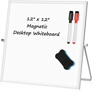 """Small Desktop White Board – 12"""" x 12"""" Portable Mini Dry Erase Whiteboard for Students Double Side to Do List Dry Erase Board with Stand for Office, School, Home"""