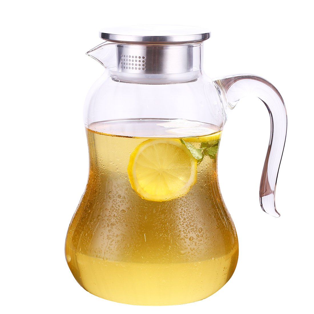 JIAQI Glass Juice Pitcher with Stainless Steel Lid and Spout, 68 Ounces Borosilicate Water Carafe with Non-Slip Handle, Perfect for Homemade Juice & Iced Tea Pitchers
