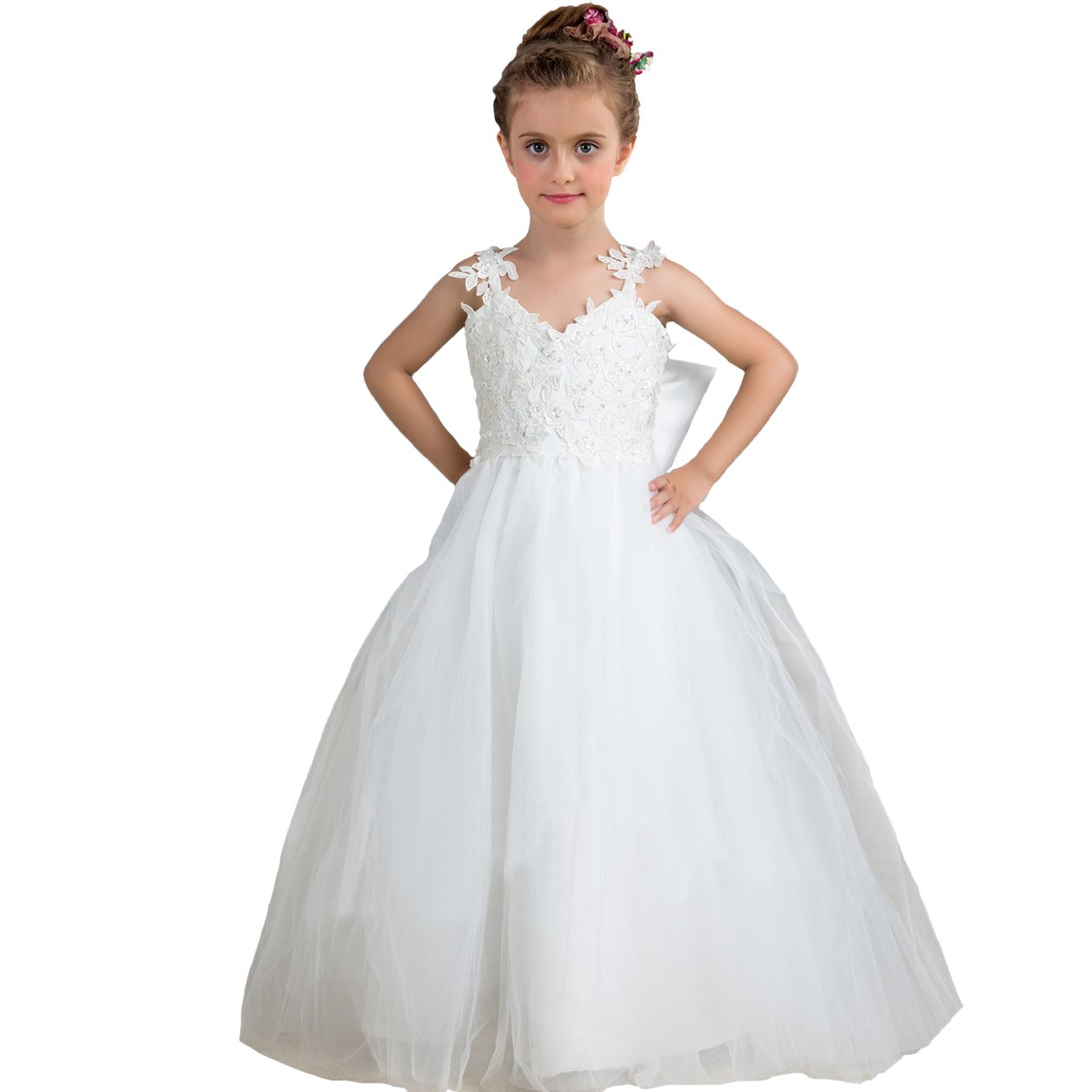 Euro Bear Puffy Toddler Children Dress Gown Flower Girl Dresses Ivory Size 12