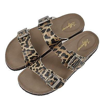 LUFFYMOMO Womens Slide Sole Sandals Cork Footbed Adjustable Stap Buckle Sandals | Slides [3Bkhe0904877]