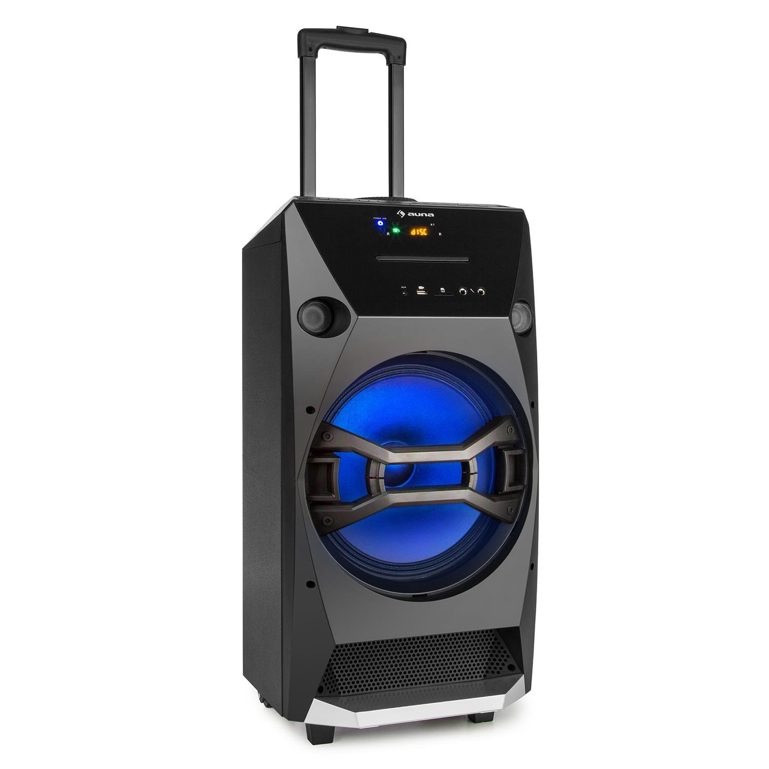 auna Brooklyn Beat Enceinte Mobile système Audio Portable (100W RMS, Bluetooth, USB SC CD-Player, Batterie UKW, LED Bleu, Microphone Inclus)