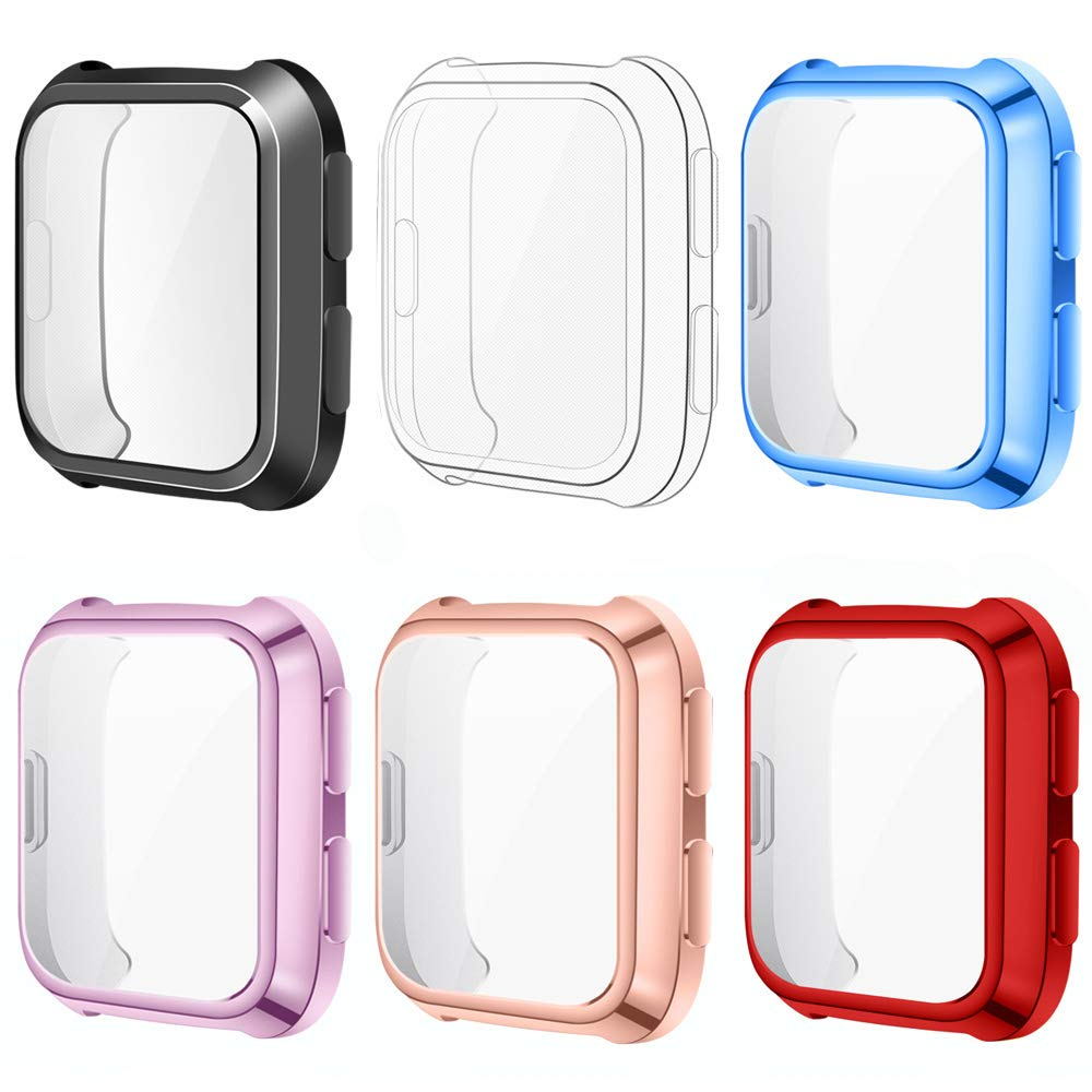 EZCO Screen Protector Case Compatible with Fitbit Versa (6-Pack), Soft TPU Plated Bumper Case All-Around Protective Screen Cover Shell for Versa Watch (Black+Clear+Light Blue+Lilac+Rose Gold+Red) by EZCO