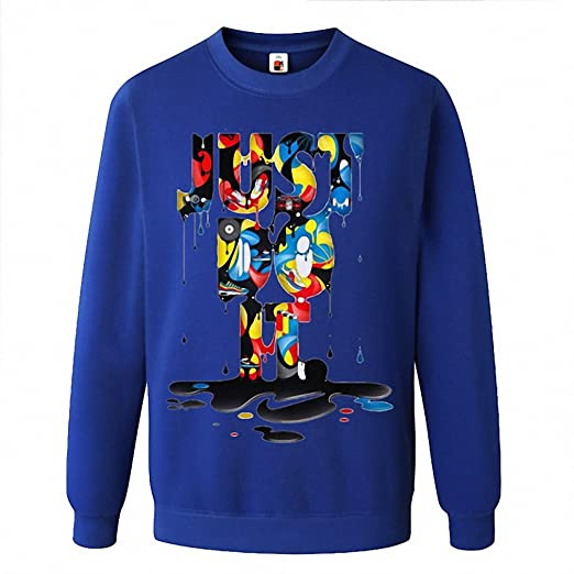 Fashion Just Do It Brand Sudaderas Clothing Hip Hop Letter Print Men Hoodies Anime Men blue