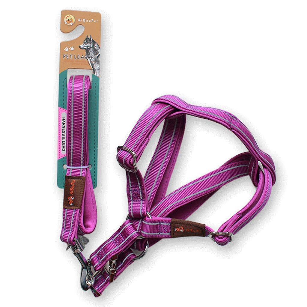 PURPLE M PURPLE M Diving Cloth Reflective Traction Rope,Solid Wear,Reflective Traction Chest Strap,Comfortable Neck,Medium and Large Dog Pet Supplies. (color   Purple, Size   M)