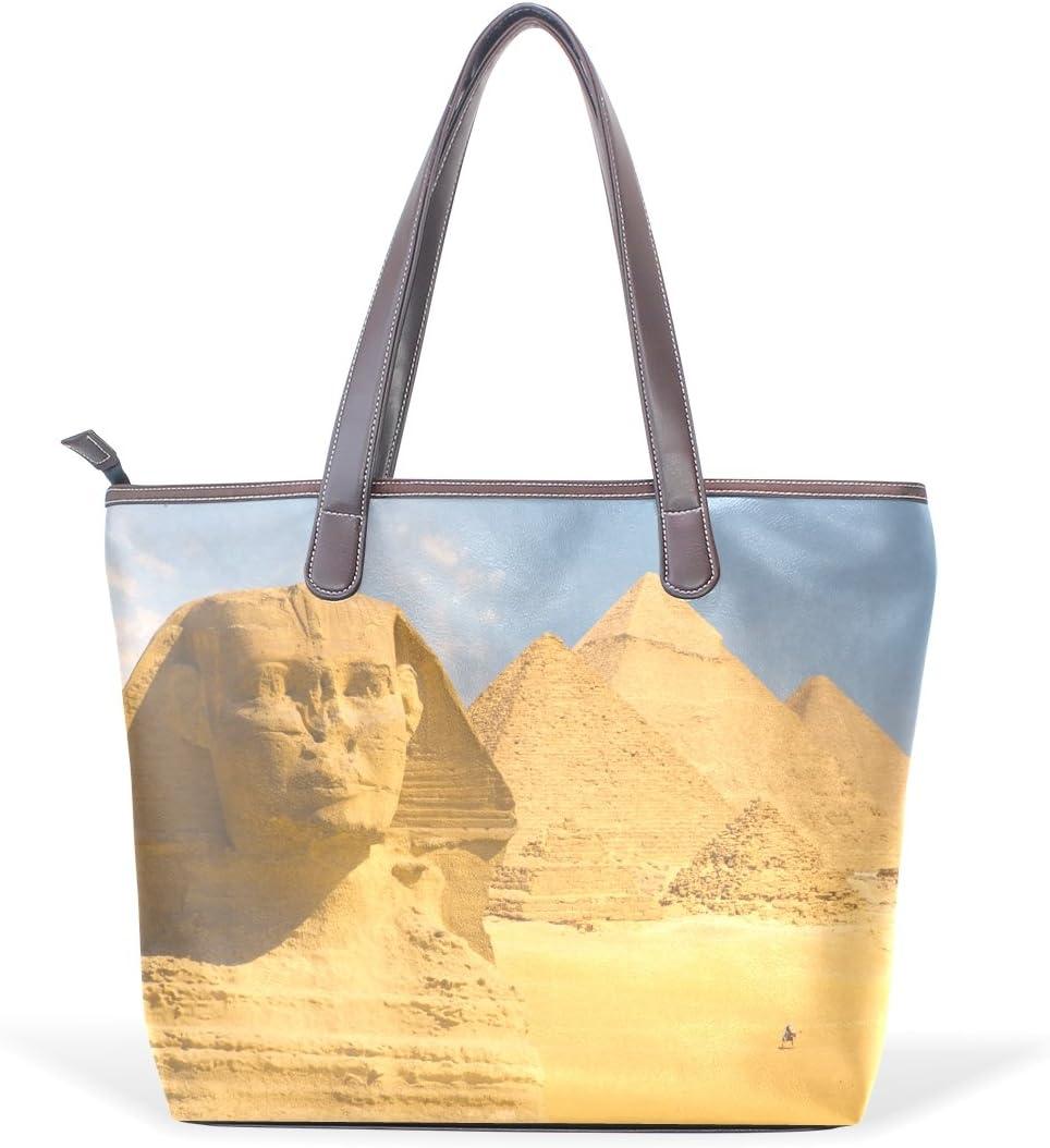 Egyptian Sphinx And Pyramid Womens Fashion Large Tote Ladies Handbag Shoulder Bag