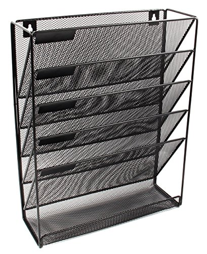 Mesh Wall Mounted 5-Tier File Organizer Black Hanging File Organizer Vertical Holder for Office Home by EasyEko