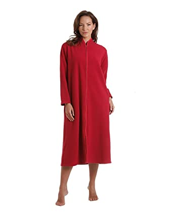 Ladies Polar Fleece Zip Front Dressing Gown Sizes 10 24 Amazonco