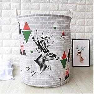 yqs Hamper Dirty Hamper Cotton Bast Fabric Laundry Basket Bathroom Sundries Basket Folding Storage Box (40X50Cm) Stripes,Red and Green Deer