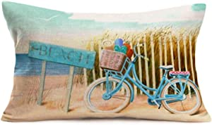 Beach Pillow Covers Cotton Linen Coastal Ocean Beach with Blue Bike Bicycle Decorative Waist Lumbar Cotton Linen Throw Pillow Case Outdoor Cushion CoverRectangle Pillowslip 12