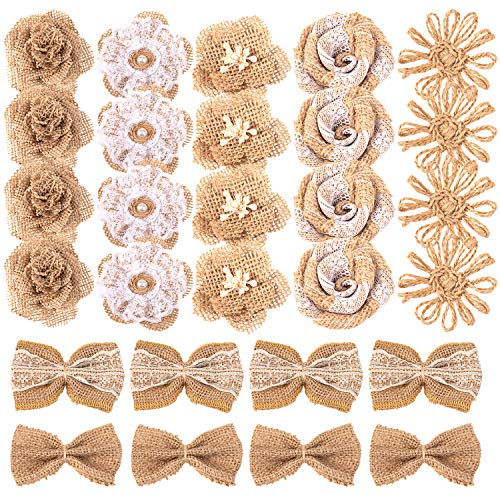 Whaline 28 Pack Natural Burlap Flowers Including Vintage Burlap Rose Flowers Jute Twine Burlap Flowers Burlap Flowers Burlap Bowknot 7 Styles for DIY Craft and Rustic Wedding Party Decoration