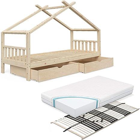 Vicco Cama Infantil diseño 90 x 200 cm Natural sin Tratar, Cama Infantil de Madera para Dormir en casa, Cama de Juegos, Incluye somier de 7 Zonas ...