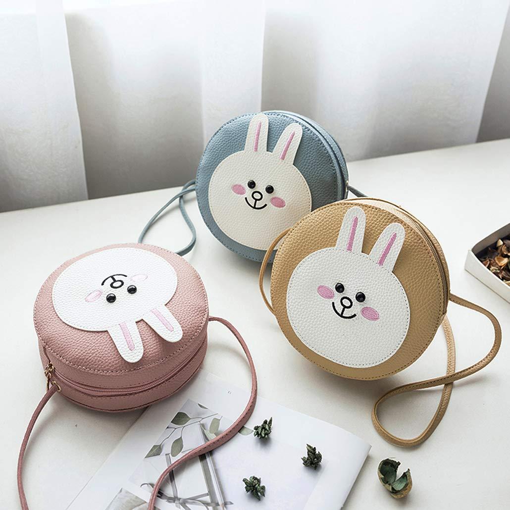 Women Girls Kids Cute Cartoon Rabbit Bear Shoulder Bag PU Leather Cross Body Bags Mini Messenger Bags Mini, Khaki Rabbit