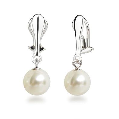 angemessener Preis guter Service hoch gelobt Schöner-SD Perlen Ohrclips Hänger Clip Ohrringe 925 Silber mit runden Perlen