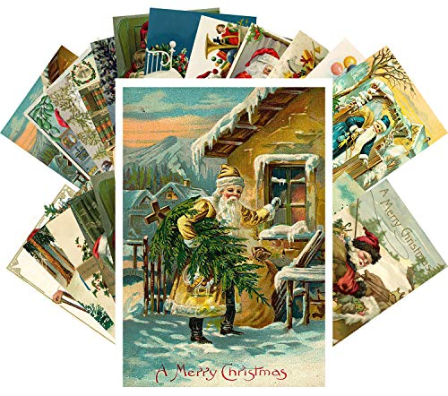 Vintage Christmas Greeting Cards 24pcs Santa and Christmas Reprint Antique Postcard Set