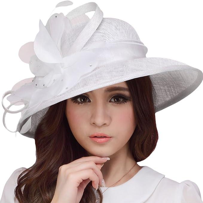 June s Young Sombrero Mujer de Sinamay Sombrero Elástico Verano Pamelas Sol  Elegante con Plumas Pierdas Flores 04d9817f3d5