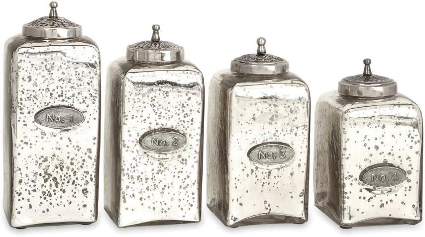 Imax 84767-4 Numbered Mercury Glass Jars, Set of 4