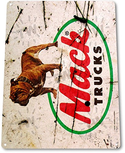tin-sign-mack-truck-rustic-metal-decor-auto-shop-trucks-stop-store-garage-b086