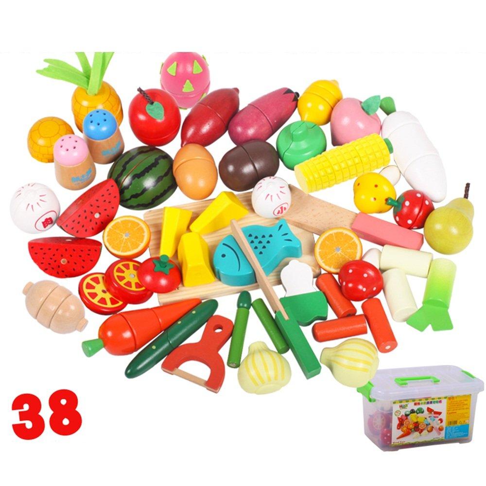 Jouet Xiaomei intellectuel Jouer Le Jeu de Nourriture pour Enfants Coupe de Bois Pizza Fruits et légumes Jeu de Simulation de Jeu Cadeaux Garçon et Fille (Couleur : 38 Pieces)