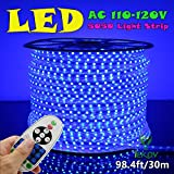 IEKOV™ AC 110-120V Flexible LED Strip Lights, 60 LEDs/M, Dimmable, Waterproof 5050 SMD LED Rope Light + Remote Controller for Christmas Home Decoration (98.4ft/30m, Blue)